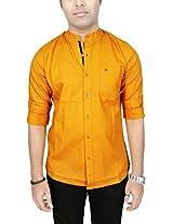 AA' Southbay Men's Mango 100% Cotton Oxford Mandarin Collar Long Sleeve Solid Casual Party Shirt