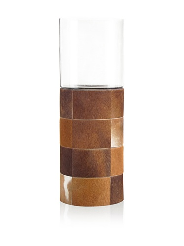 John-Richard Collection Hair-On Hide Covered Tall Glass Hurricane (Brown)