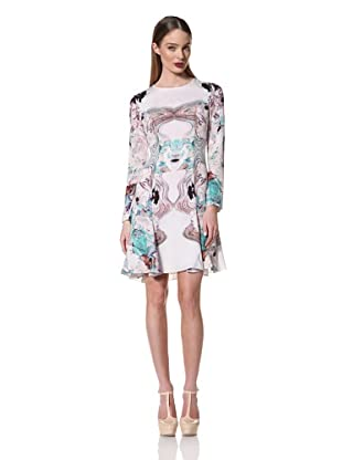 Prabal Gurung Women's Long Sleeve Flared Dress (Turquoise Floral)