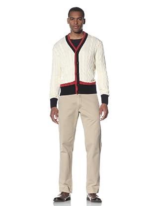 Cruciani Men's Stripe Trim Cardigan (White/Red/Navy Blue)