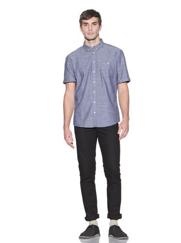 Farah Men's The Beckett Slim-Fit Chambray Shirt (Blue Chambray)