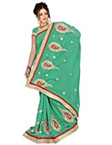 Chinco Embroidered Saree With Blouse Piece (1105-A_Green)