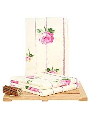 Maisonette 3-Piece Hand Towel Set, Pink