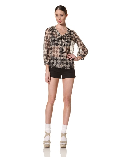 Anna Sui Women's Checkered Dot Crinkle Chiffon Blouse (Black)