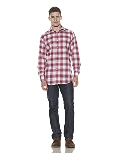 Shirt by Shirt Men's Plaid Long Sleeve Button-Up Shirt (Red/Blue)