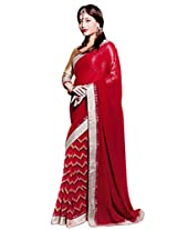Riti Riwaz Red saree with unstitched blouse SRA5013
