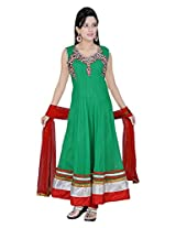Divinee Teal Green Net Readymade Anarkali Suit