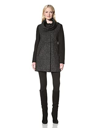Tahari Women's Taylor Boiled Wool Coat with Detachable Scarf (Charcoal)