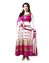 Kavya Womens Blended Anarkali Semi-Stitched Dress Material (Bg16008 _offwhite & Pink)
