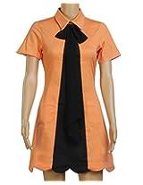 Aafra Girls' Cotton & Elastane Regular Fit Kurti (39,Orange & Black)