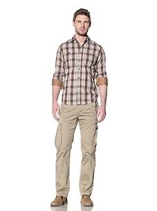 Just A Cheap Shirt Men's Thomas Plaid Button-Up Shirt (Brown)