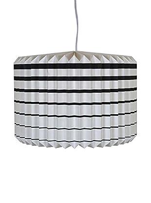 Striped Paper Accordion Pendant Lamp, White/Black