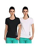 Softwear YAS Womens Black and White Yoga & Sportswear T-Shirts Combo of 2-X-Large