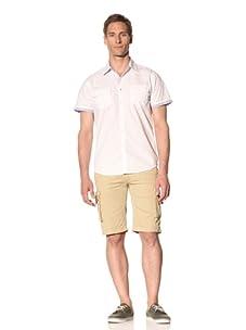 Fresh Men's Short Sleeve Button-Front Shirt (White)