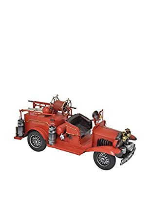 Three Hands Metal Fire Truck Decoration