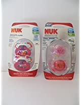 4 Nuk Orthodontic Baby Pacifiers 0-6 Mo Girl Nuk Pink Butterfly + Nuk Clearshield Geometric Design
