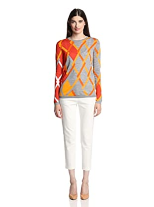 Pringle of Scotland Women's Linked Argyle Crewneck Sweater (Grey/Orange)