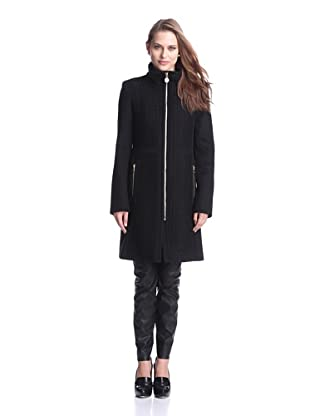 Elie Tahari Women's Claudia Mixed-Texture Coat (Black)