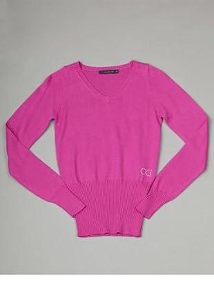 Calvin Klein Jeans Longsleeve V-Neck (Fuchsia)
