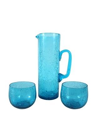 Vintage Crackle Glass Drink Set, S/3, Turquoise