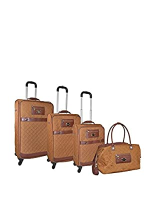 Adrienne Vittadini Quilted Nylon 4-Pc Luggage Set, Saddle