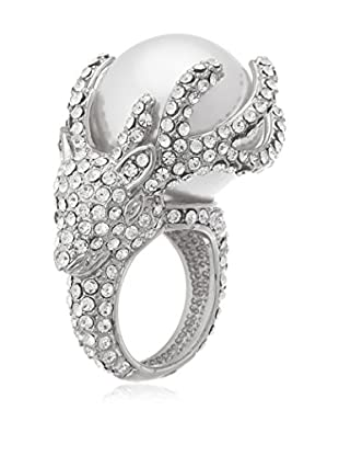 Annabella Lilly 18K White Gold-Plated Pearl & Swarovski Crystal Elements Ring