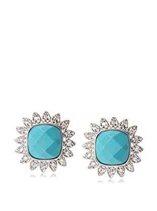 CZ by Kenneth Jay Lane Pavé Turquoise Stud Earrings