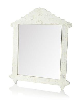 Mili Designs Butterfly Design Bone Inlay Crown Mirror, White/White