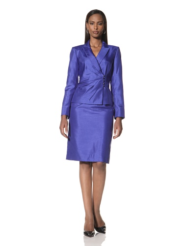 Tahari by A.S.L. Women's Long Sleeve Jacket with Skirt (Cobalt)