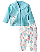 Infant Girls Full Sleeves Tee with Printed Legging, Blue (0-6 Months)