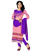 FadAttire Embroidered Cotton Straight Fit Suit-Pink-FAST01