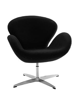 Manhattan Living Swan Fabric Chair, Black