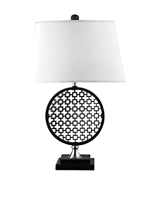 Artistic Lighting Prospect Optic Illusion Table Lamp, Black/Polished Nickel