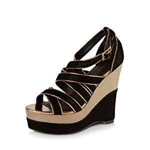 Multi Strap Wedges by Dolcis in black and beige color