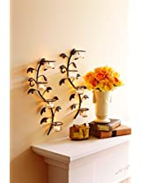 Set of 2 Hosley® Wall sconces 40cm long with 8 Glass Cup Candle Holders and bonus Tealight Candles