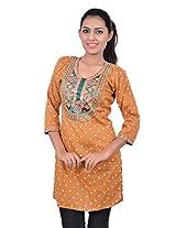 Kala Sanskruti Women's Cotton Silk Yellow Kurti