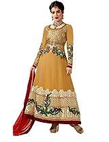 Texclusive women's designer floor length semi-stitched anarkali suit