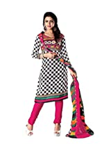 RUDRA FASHION WOMEN'S BLACK & PINK COTTON SALWAR SUIT DRESS MATERIAL WITH COTTON DUPATTA.DS-2113