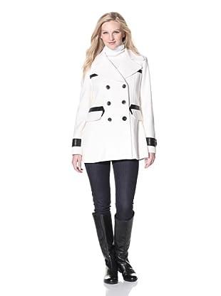 Via Spiga Women's Pea Coat with Faux Leather Trim (Winter White)