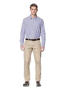 Ike Behar Men's Striped Button-Front Shirt (Blue/White)