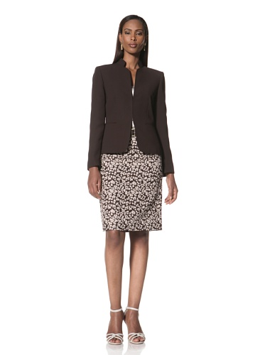 Tahari by A.S.L. Women's Jacket with Printed Skirt (Brown/Tan)