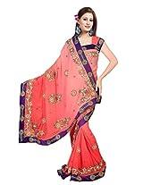 A.V.Fashion Embroidered Saree (1203_Gajari)