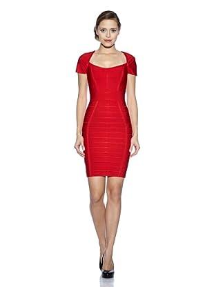 Corizzi & Absolu Vestido Gran Escote Bandas Cóctel (Rojo)