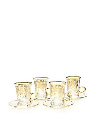 A Casa K York Décor Set of 4 Crystal 3.5-Oz. Espresso Cup & Saucer Set, Clear/Gold