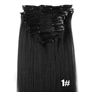 Free 22 12Pcs Full Head Clip In Synthetic Hair Extensions Straight New (#01-Jet Black)