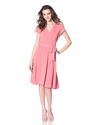 Leota Women's Cap Sleeve Wrap Dress (Coral)