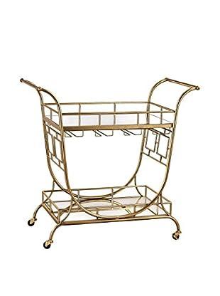 Artistic Mirrored Server Bar Cart, Gold Leaf/Clear