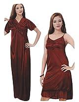 Indiatrendzs Bridal Sexy Hot Nighty Maroon 2pc Set Silk Satin Lingerie Evening Wear