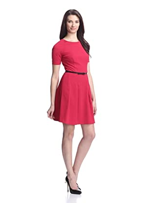 Nicole Miller Women's Crepe Fit and Flare Dress (Cherry)
