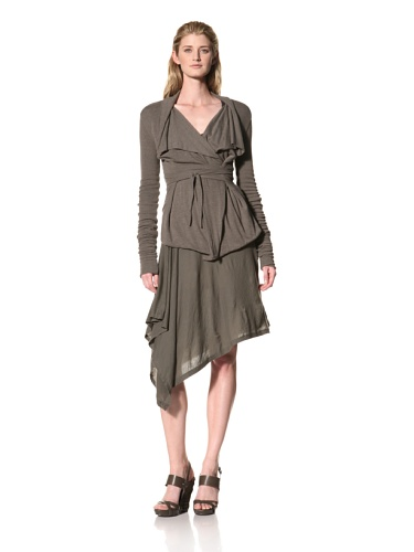RICK OWENS Women's Heavy Jersey Belted Wrap Jacket (Darkdust)